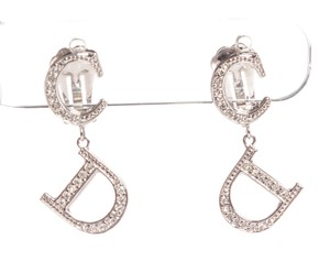 Dior Christian Dior Silver Rhinestone Drop Clip On Earrings
