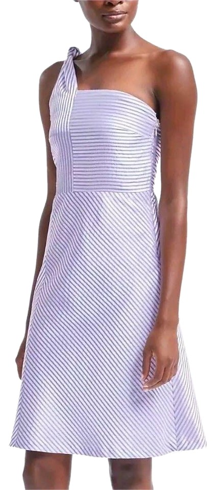Banana Republic Blue Eith White Stripes One Shoulder Fit Flare