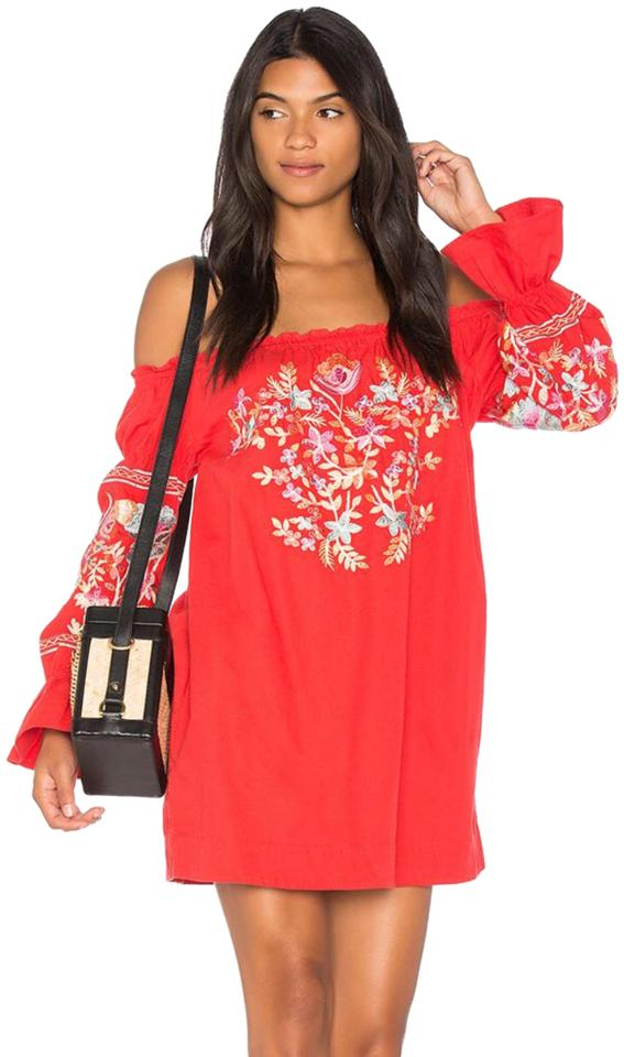 75dac5804b0e8 Free People Red Fleur Du Jour Off Shoulder Shift Short Casual Dress ...