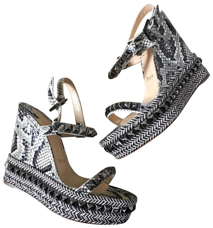 b66fd5031415 Christian Louboutin Dark Grey Snake Cataclou 120mm Watersnake Printed Wedges