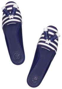 Tory Burch Nautical Striped Summer Tassels Slides Navy blue white Mules