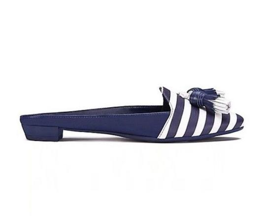 Tory Burch Nautical Striped Summer Tassels Slides Navy blue white Mules Image 1