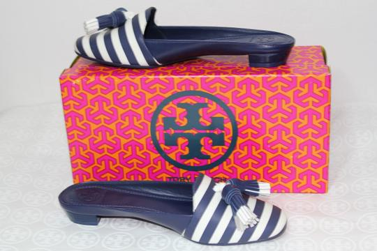 Tory Burch Nautical Striped Summer Tassels Slides Navy blue white Mules Image 3