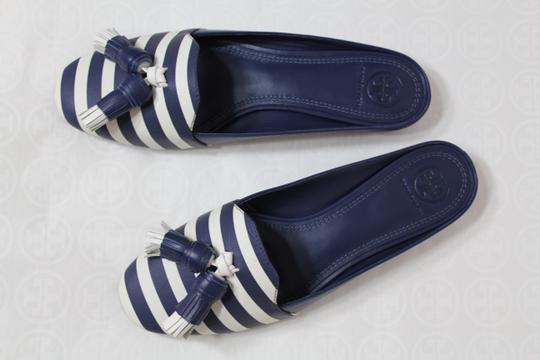 Tory Burch Nautical Striped Summer Tassels Slides Navy blue white Mules Image 4
