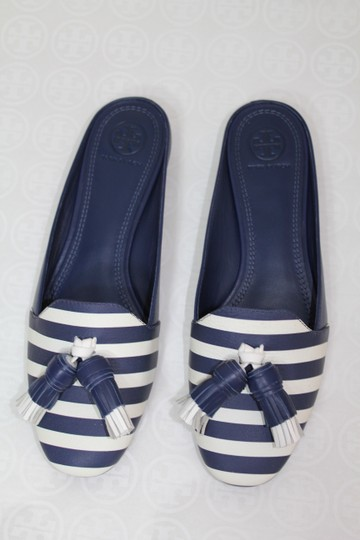 Tory Burch Nautical Striped Summer Tassels Slides Navy blue white Mules Image 5