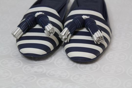 Tory Burch Nautical Striped Summer Tassels Slides Navy blue white Mules Image 6