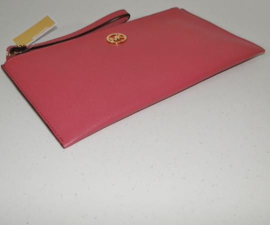 Michael Kors Clutch Leather Pink Pebbled Wristlet in Tulip Image 1