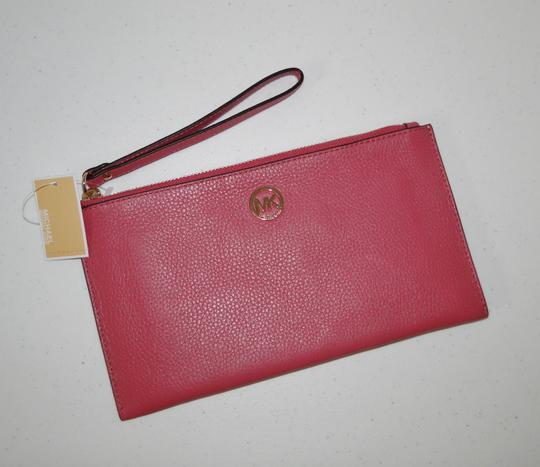 Michael Kors Clutch Leather Pink Pebbled Wristlet in Tulip Image 4