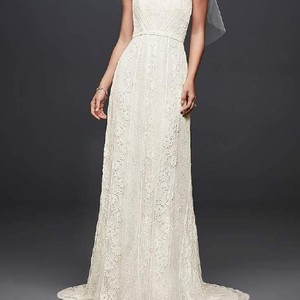 Galina Ivory Lace Strapless Sheath Gown Formal Wedding Dress Size 6 (S)