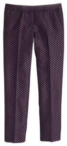 J.Crew Work Summer Jacquard Skimmer Trouser Pants Navy & pink