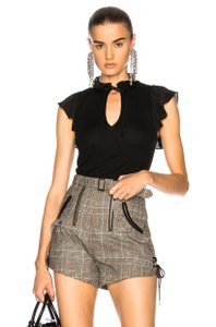 self-portrait Checkered Gingham Houndstooth Belted Dress Shorts tan, black
