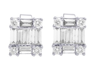 Jewelry Unlimited 18K White Gold Real Diamond Baguette Stud Earrings 1.16 CT 9MM