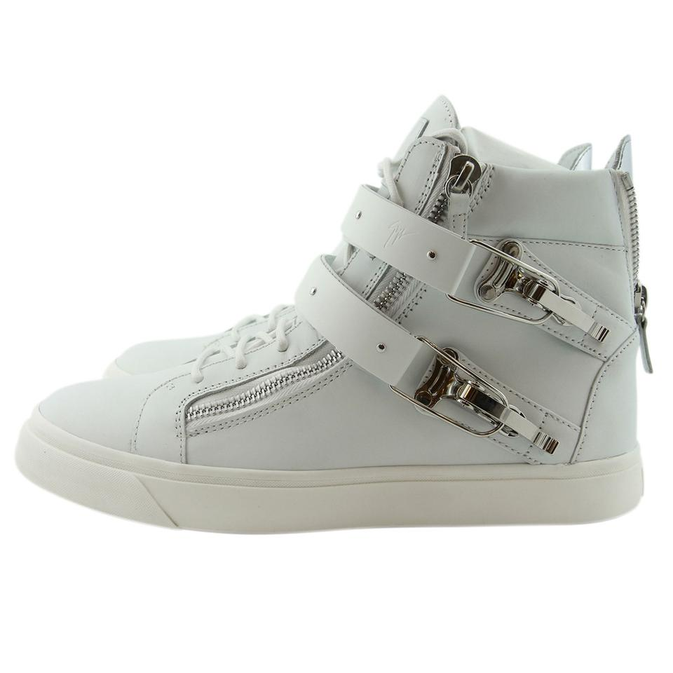16b9d22fe414 Giuseppe Zanotti White New Gz Men Eu 44 Genuine Leather   Ski Buckle  Accessory High-top Sneakers