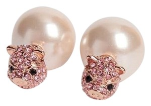 Kate Spade KATE SPADE 12K Rose Gold Plated Imagination Pave Pig Reversible Earrin