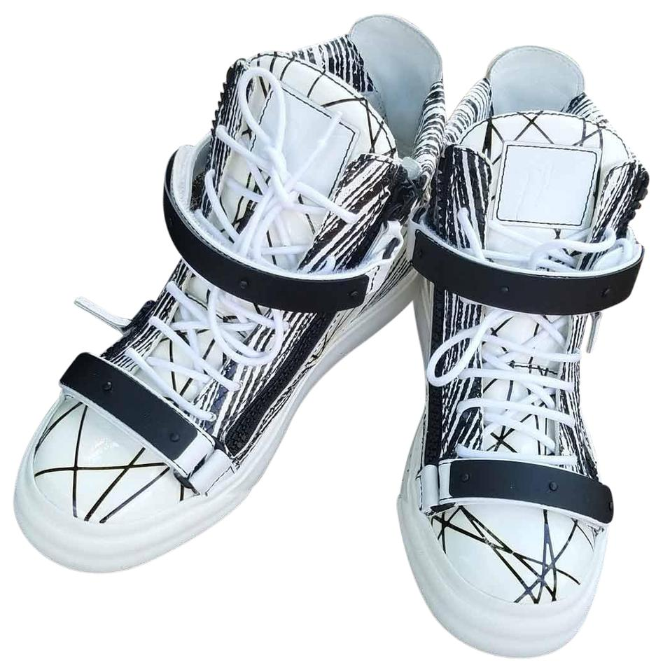 406afae4be473 Giuseppe Zanotti White New Women Gz Design London Scribble Print Patent  Leather High-top Sneakers