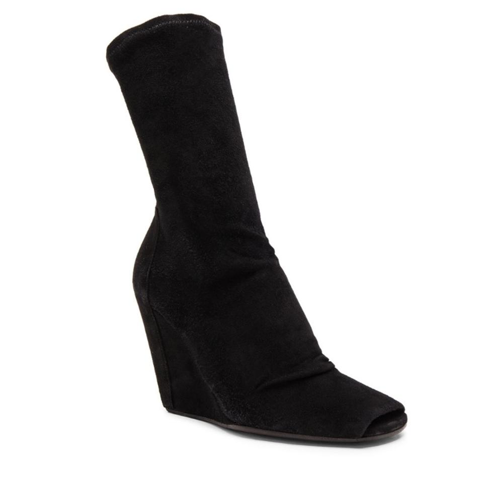 30863487ef94 Rick Owens Black Suede Stretch Wedge Open Toe Boots Booties Size EU ...