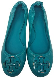 Tory Burch Gold Hardware Miller Reva Patent Leather Ballerina Blue Flats