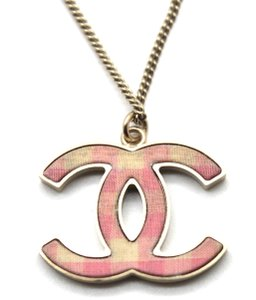 Chanel CC Pink Ginham gold long chain two way choker and necklace