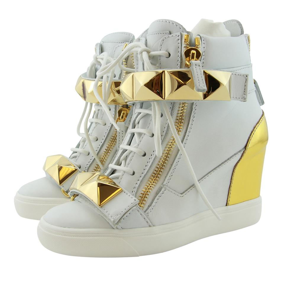 dc5ae8ee4ef Giuseppe Zanotti Sneakers High-top Sneakers For Women Wedge Sneakers White    Gold Athletic Image ...