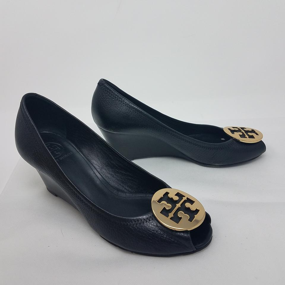7fbe00c61af Tory Burch Black Gold Leather Peep-toe Wedge Pumps Size US 9 Regular ...