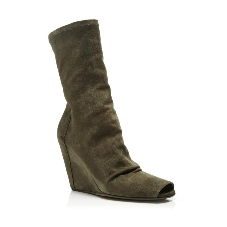 7164575ed73c Rick Owens Khaki Suede Stretch Wedge Open Toe Boots Booties Size EU ...