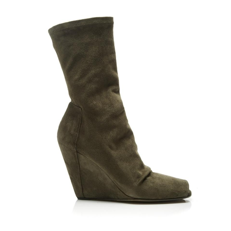 b736b1257059 Rick Owens Khaki Suede Stretch Wedge Open Toe Boots Booties Size EU 40.5  (Approx. US 10.5) Regular (M