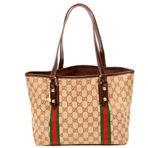 Gucci Beige Canvas Canvas Vintage Tote in GG Monogram Web 6068