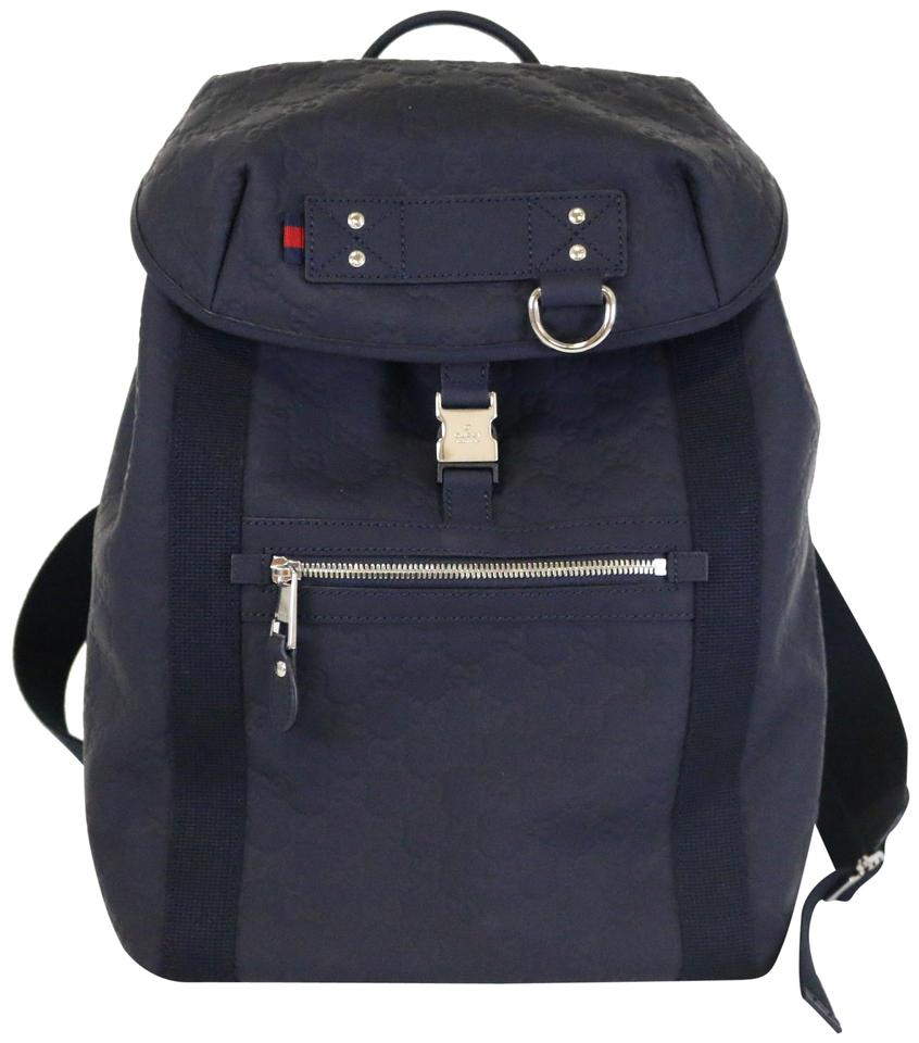 2b54c62933fd7d Gucci Gg Embossed Navy Guccissima Backpack - Tradesy