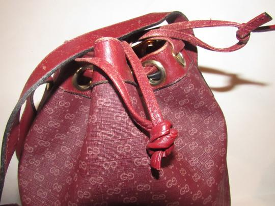 Gucci Drawstring Top Bucket Style Mint Vintage Color Has Dust Satchel in light ox-blood small G logo print on burgundy coated canvas and burgundy leather Image 3