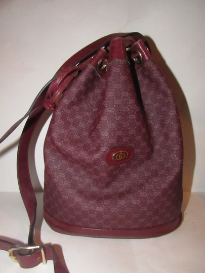 Gucci Drawstring Top Bucket Style Mint Vintage Color Has Dust Satchel in light ox-blood small G logo print on burgundy coated canvas and burgundy leather Image 4