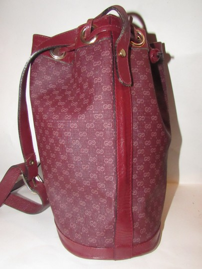 Gucci Drawstring Top Bucket Style Mint Vintage Color Has Dust Satchel in light ox-blood small G logo print on burgundy coated canvas and burgundy leather Image 6