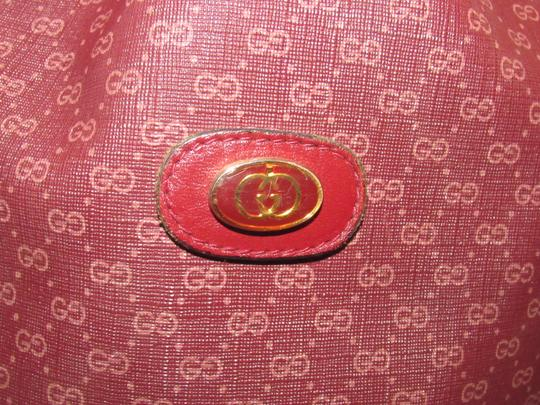 Gucci Drawstring Top Bucket Style Mint Vintage Color Has Dust Satchel in light ox-blood small G logo print on burgundy coated canvas and burgundy leather Image 8