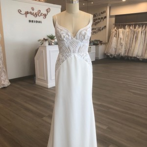 Blush by Hayley Paige Ivory/Cashmere Crepe Xenia Feminine Wedding Dress Size 12 (L)