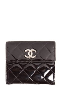 Chanel Black Brillliant Compact CC Embellished Wallet