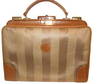 Fendi Mint Vintage Train Case/Satchel Structured & Hinged Buttery Print Satchel in tan wide striped canvas and camel leather