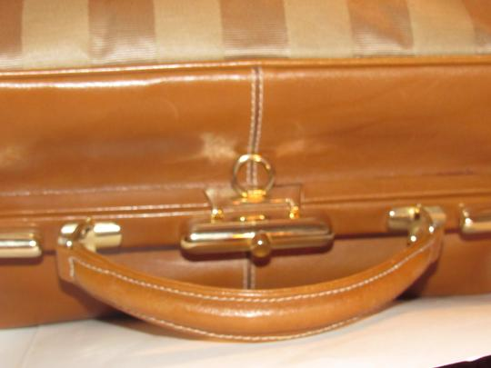Fendi Mint Vintage Train Case/Satchel Structured & Hinged Buttery Print Satchel in tan wide striped canvas and camel leather Image 1