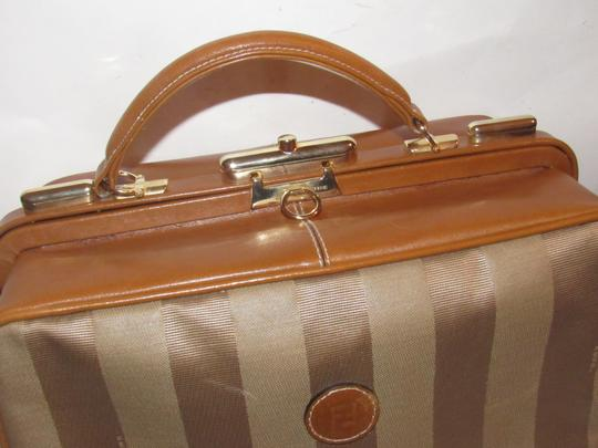 Fendi Mint Vintage Train Case/Satchel Structured & Hinged Buttery Print Satchel in tan wide striped canvas and camel leather Image 10