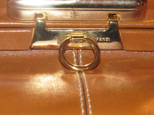 Fendi Mint Vintage Train Case/Satchel Structured & Hinged Buttery Print Satchel in tan wide striped canvas and camel leather Image 3