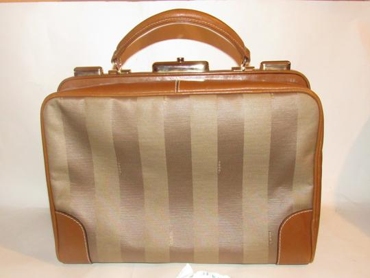 Fendi Mint Vintage Train Case/Satchel Structured & Hinged Buttery Print Satchel in tan wide striped canvas and camel leather Image 7