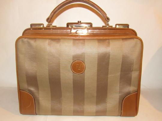 Fendi Mint Vintage Train Case/Satchel Structured & Hinged Buttery Print Satchel in tan wide striped canvas and camel leather Image 9