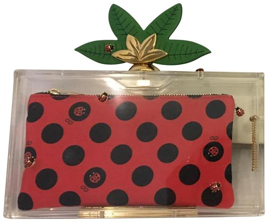Charlotte Olympia Ladybug Flower Garden Leaf Summer Clear and Polkadots Clutch Image 0