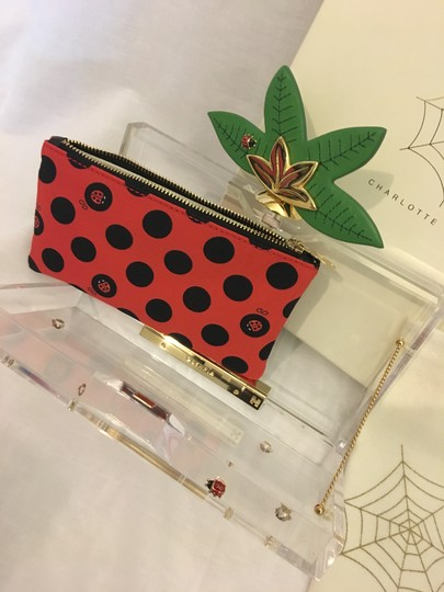 Charlotte Olympia Ladybug Flower Garden Leaf Summer Clear and Polkadots Clutch Image 2