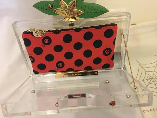 Charlotte Olympia Ladybug Flower Garden Leaf Summer Clear and Polkadots Clutch Image 3