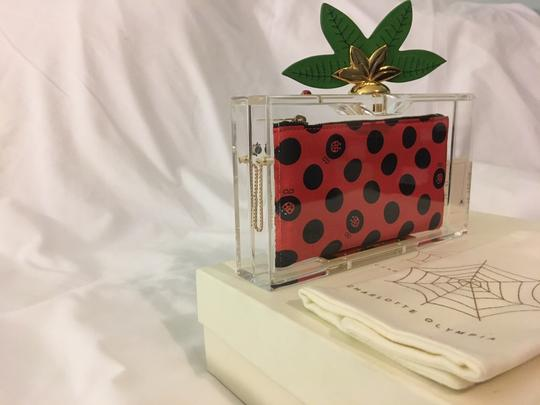Charlotte Olympia Ladybug Flower Garden Leaf Summer Clear and Polkadots Clutch Image 6