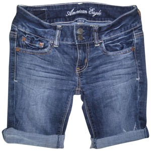 American Eagle Outfitters Jean Rolled Stretch Daisy Dukes Low Rise Cut Off Shorts Blue