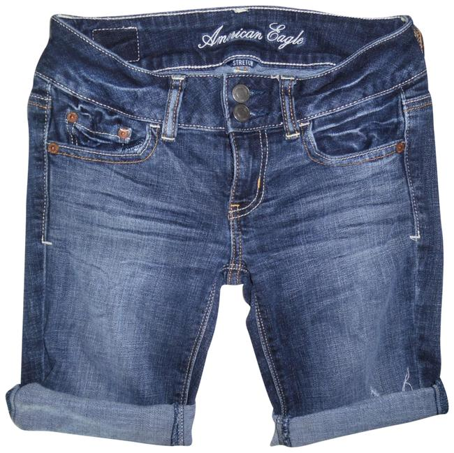 American Eagle Outfitters Blue Faded Low-rise Stretchy Denim Jean Shorts Size 0 (XS, 25) American Eagle Outfitters Blue Faded Low-rise Stretchy Denim Jean Shorts Size 0 (XS, 25) Image 1