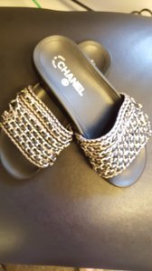 Chanel Sandals Chain Slides Black/Multi Mules