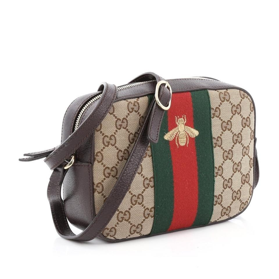 341228acf951e Gucci Webby Camera Case Camera It Web and Stripe and Brown Fabric ...