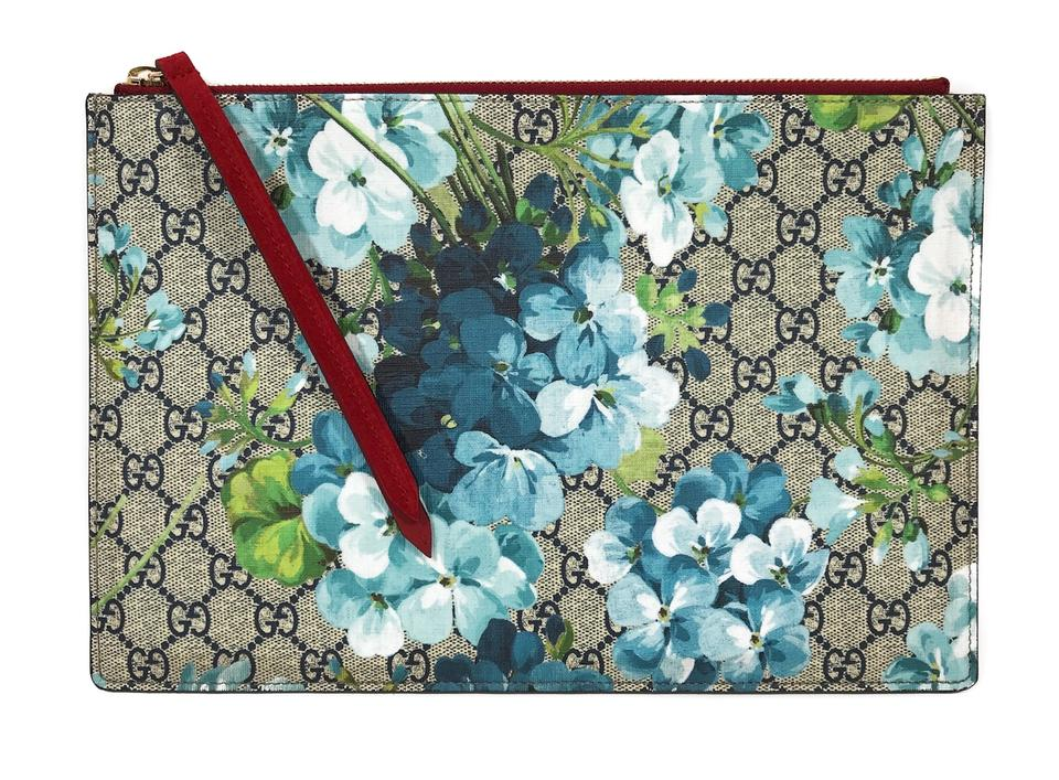 59894a92ee328c Gucci 410807 Gg Supreme Blooms Big Pouch Multicolor Coated Canvas ...