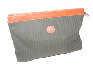 Fendi Timeless Style Clutch/Cosmetic Excellent Vintage Pequin Leather Print black/grey thin stripe/cognac Clutch